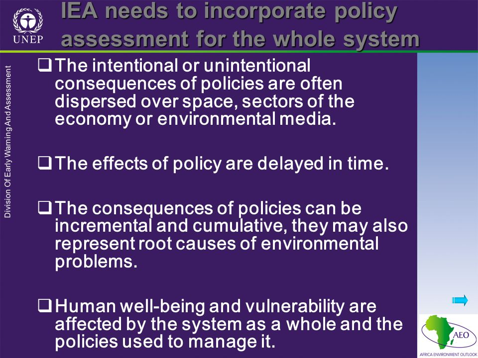 IEA needs to incorporate policy assessment for the whole system