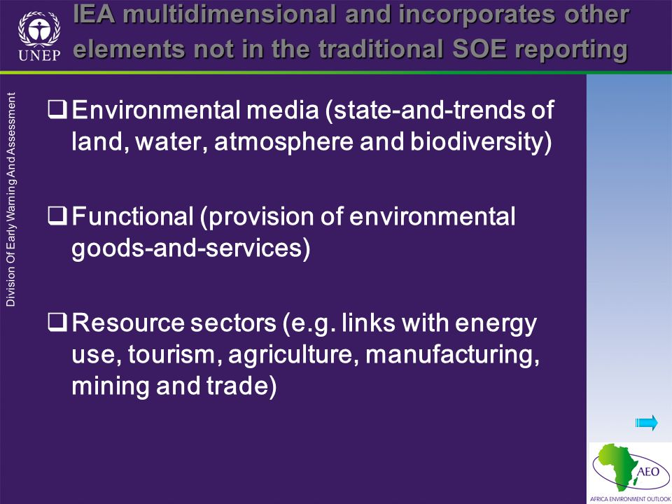 IEA multidimensional and incorporates other elements not in the traditional SOE reporting