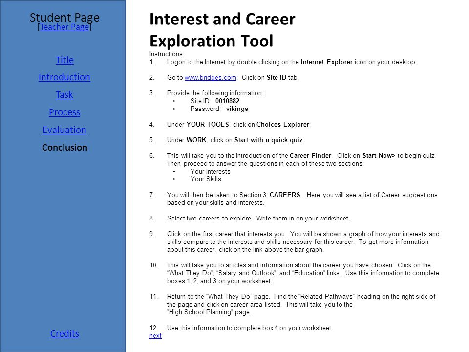 Take Charge Student Page Title Introduction Task Process Evaluation. Interest And Career Exploration Tool. Worksheet. Career Exploration Worksheets For Highschool Students At Mspartners.co