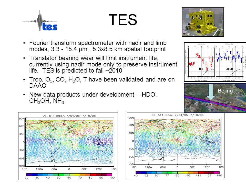 TES Fourier transform spectrometer with nadir and limb modes, 3.3 - 15.4 µm , 5.3x8.5 km spatial footprint.