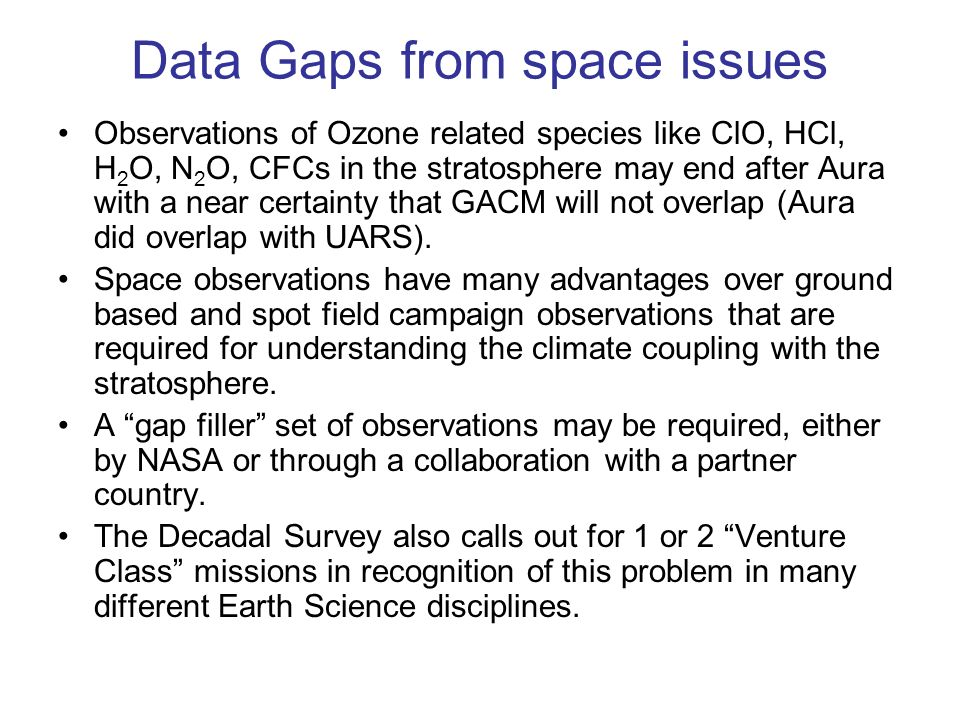 Data Gaps from space issues