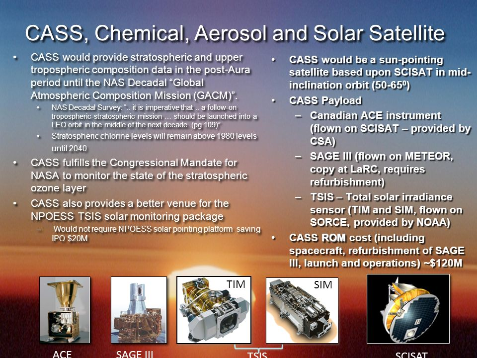 CASS, Chemical, Aerosol and Solar Satellite