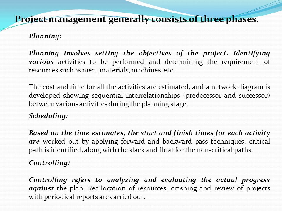 Network problem cpm pert ppt video online download project management generally consists of three phases ccuart Image collections