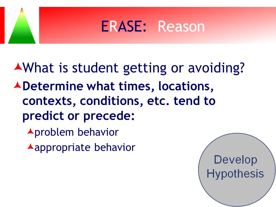 ERASE: Reason What is student getting or avoiding