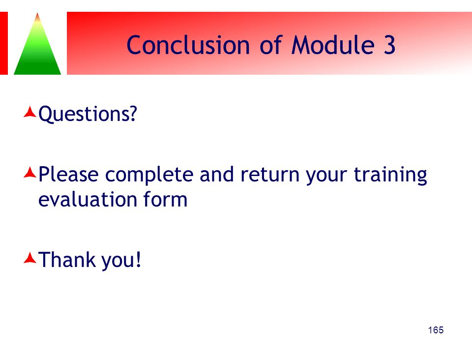 Conclusion of Module 3 Questions