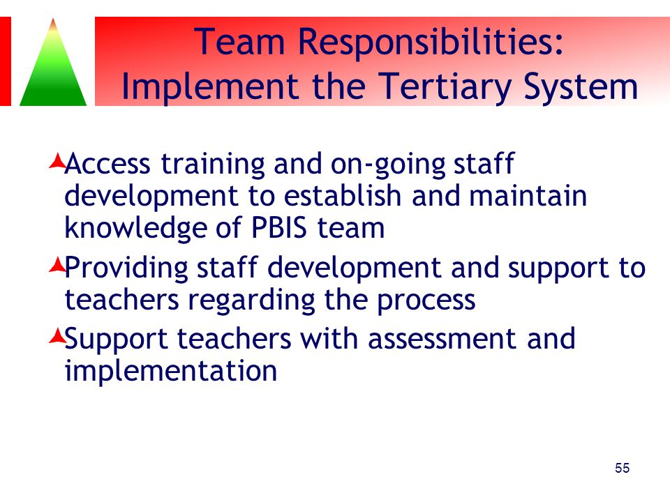 Team Responsibilities: Implement the Tertiary System