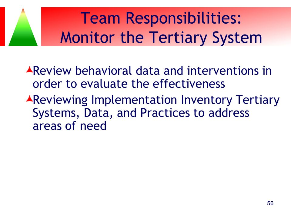Team Responsibilities: Monitor the Tertiary System