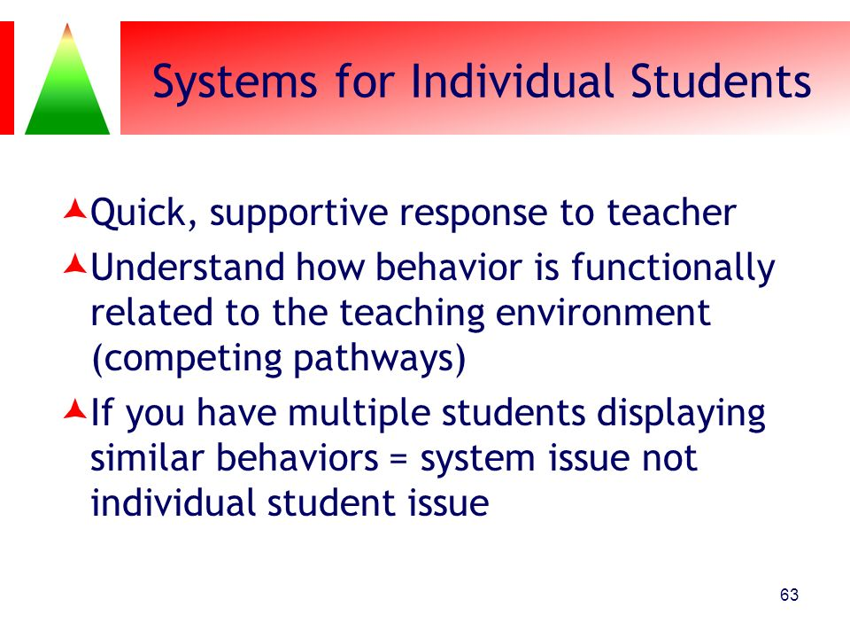 Systems for Individual Students