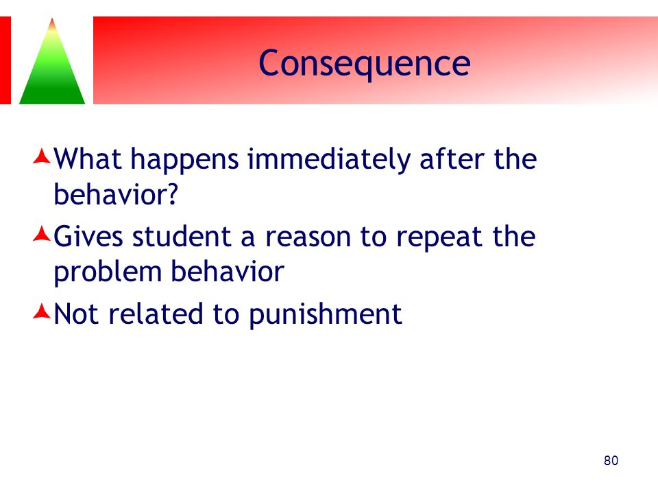 Consequence What happens immediately after the behavior
