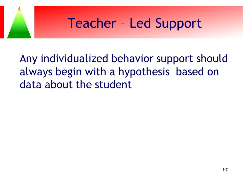 Teacher – Led Support Any individualized behavior support should always begin with a hypothesis based on data about the student.