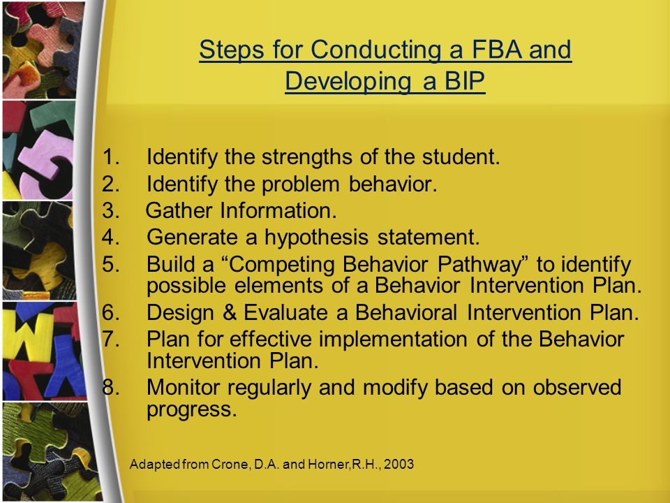 Steps for Conducting a FBA and Developing a BIP