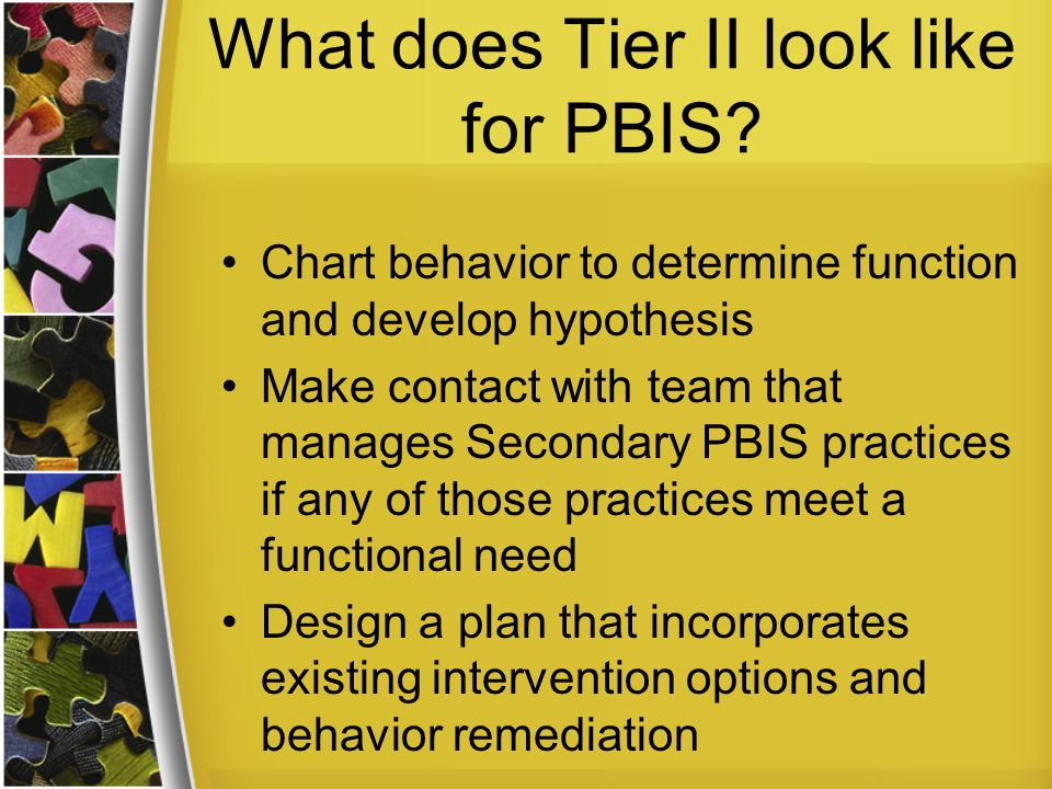 What does Tier II look like for PBIS