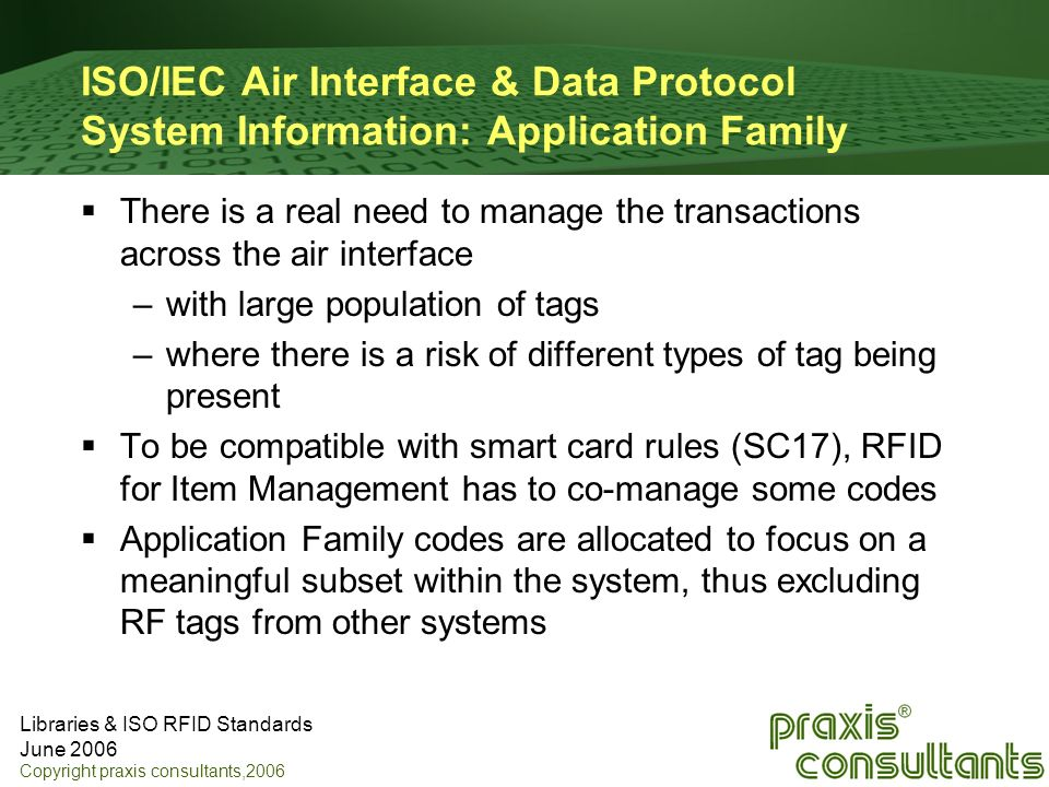ISO/IEC Air Interface & Data Protocol System Information: Application Family