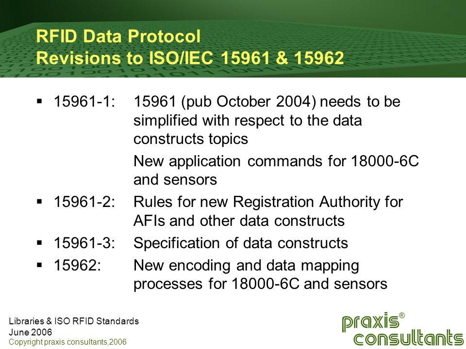 RFID Data Protocol Revisions to ISO/IEC 15961 & 15962