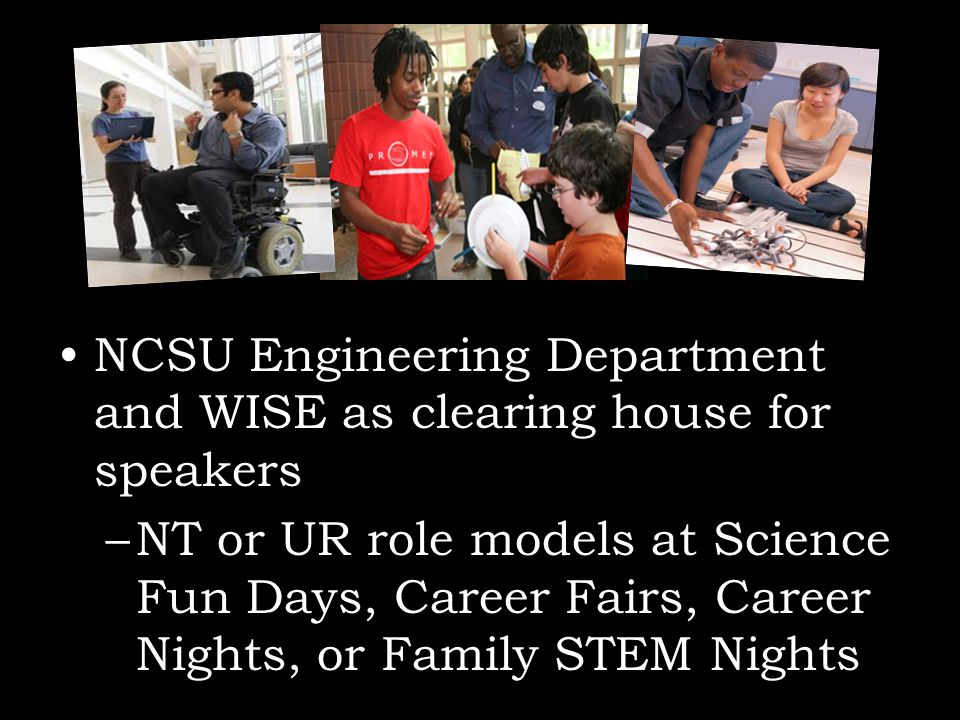 NCSU Engineering Department and WISE as clearing house for speakers