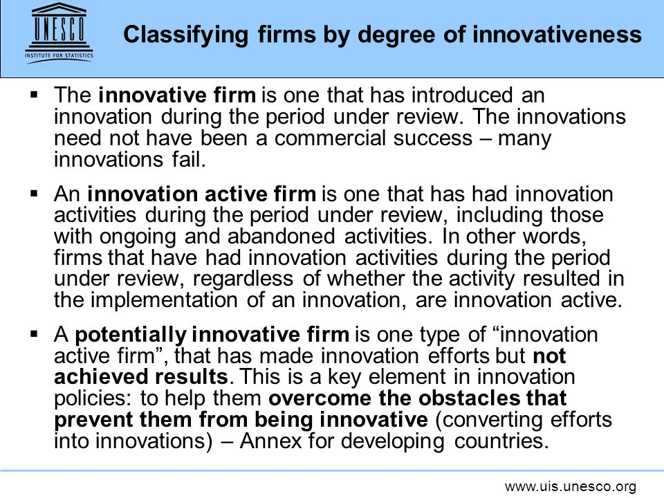 Classifying firms by degree of innovativeness