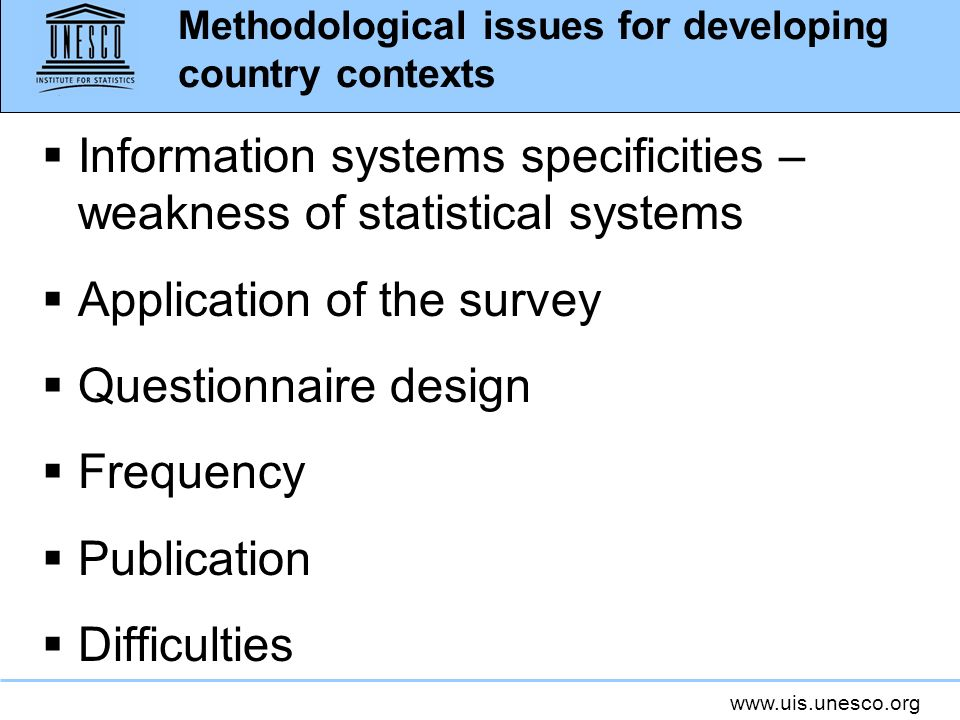 Methodological issues for developing country contexts