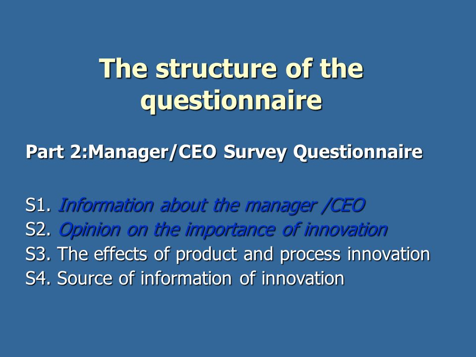 The structure of the questionnaire
