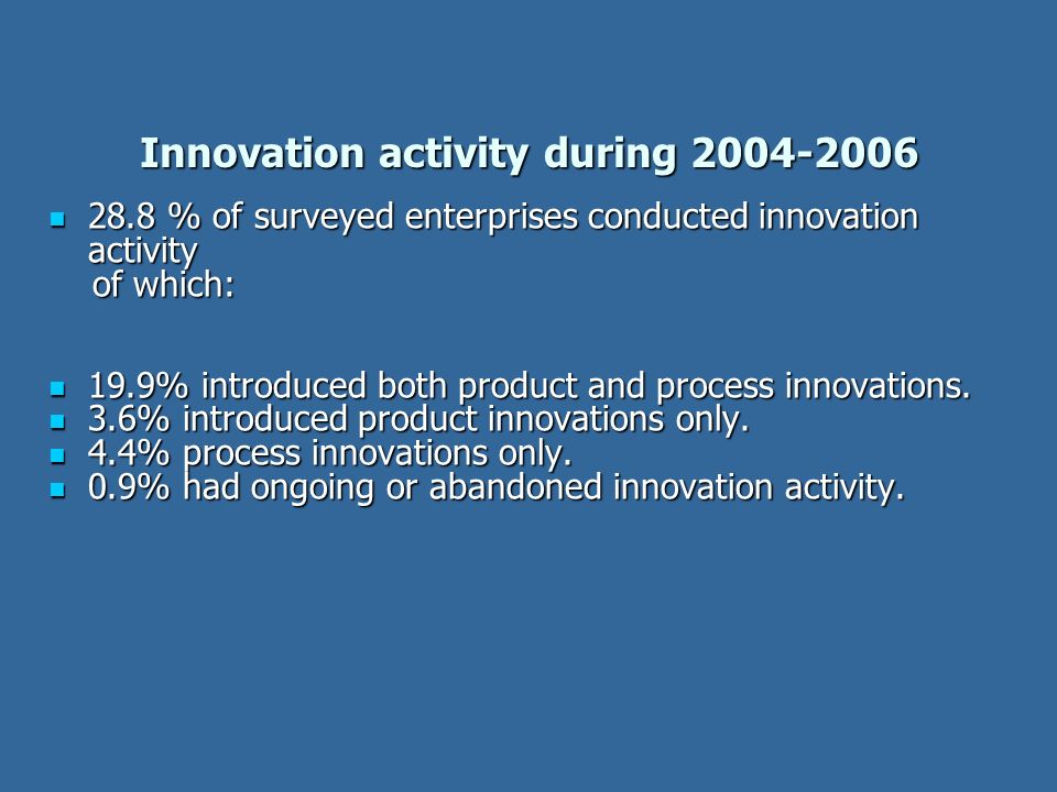 Innovation activity during 2004-2006