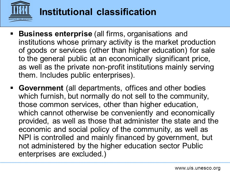 Institutional classification