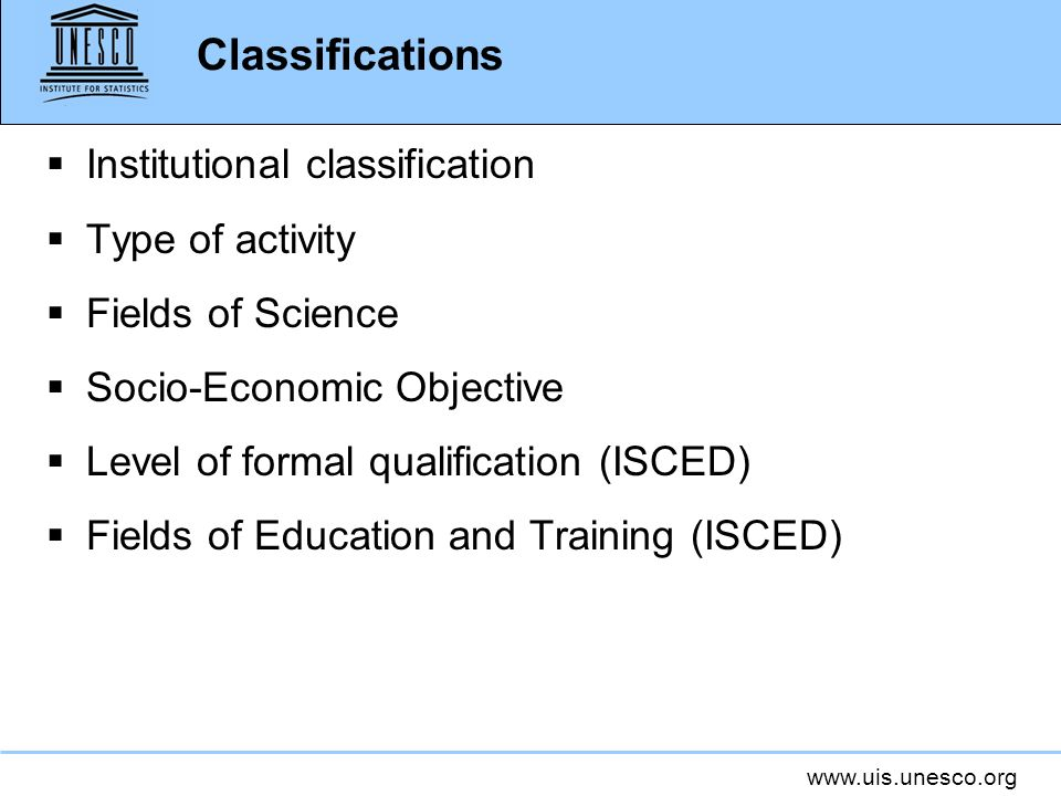 Classifications Institutional classification Type of activity