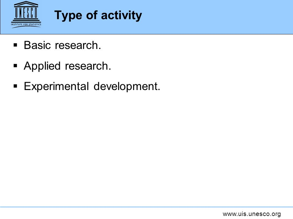Type of activity Basic research. Applied research.
