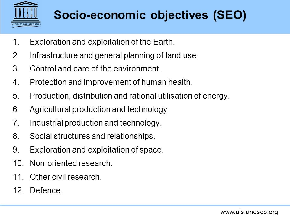 Socio-economic objectives (SEO)