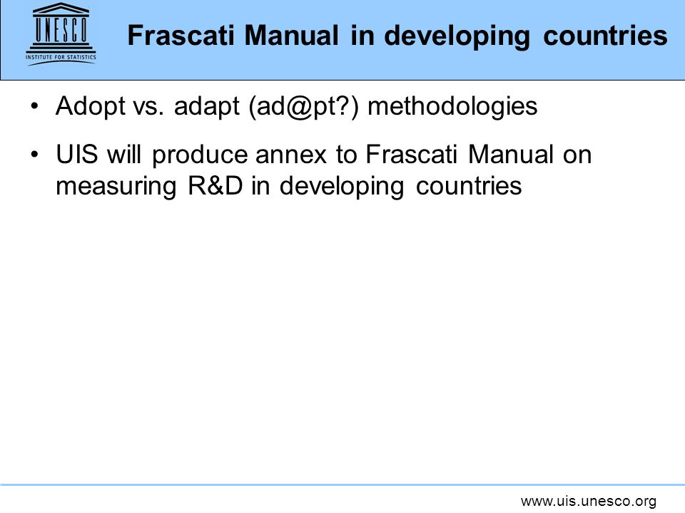 Frascati Manual in developing countries