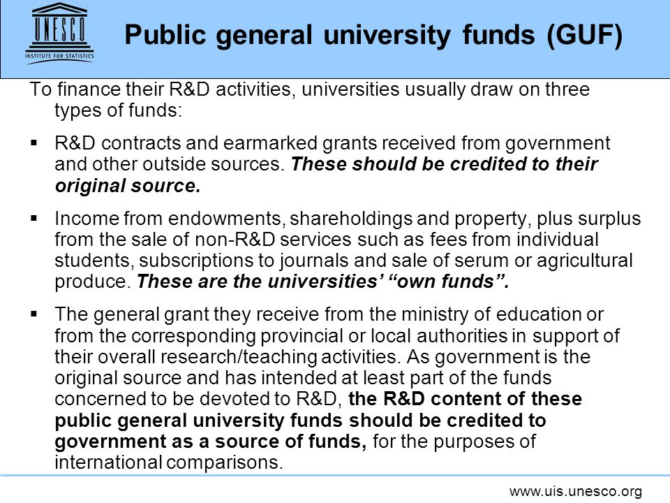 Public general university funds (GUF)