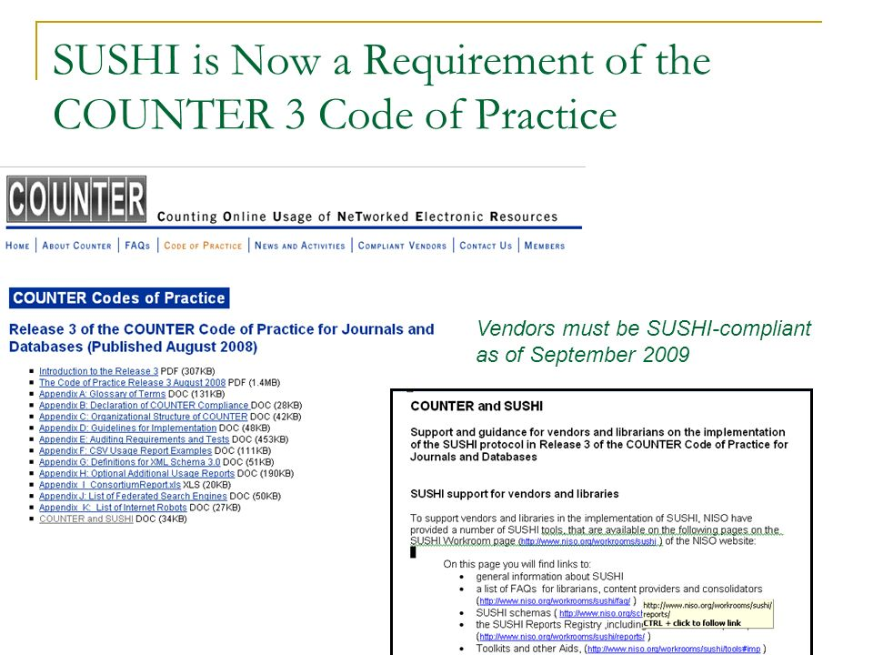 SUSHI is Now a Requirement of the COUNTER 3 Code of Practice