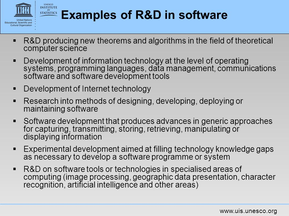 Examples of R&D in software
