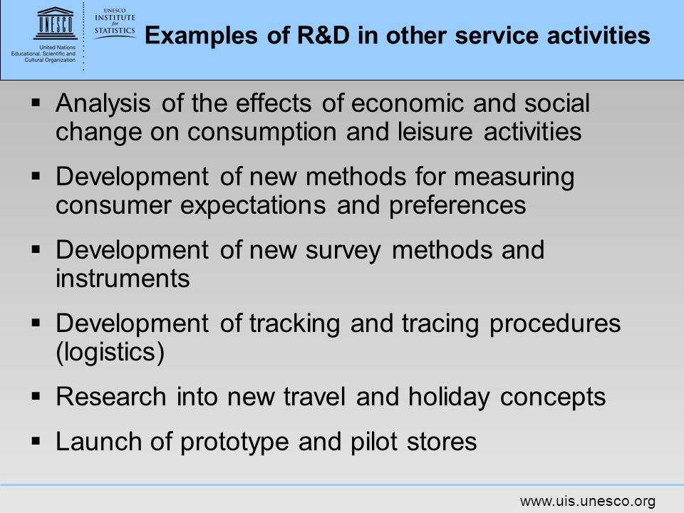 Examples of R&D in other service activities