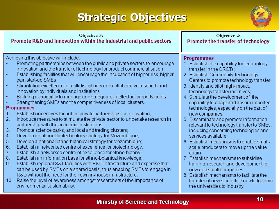 Strategic Objectives Ministry of Science and Technology Objective 3: