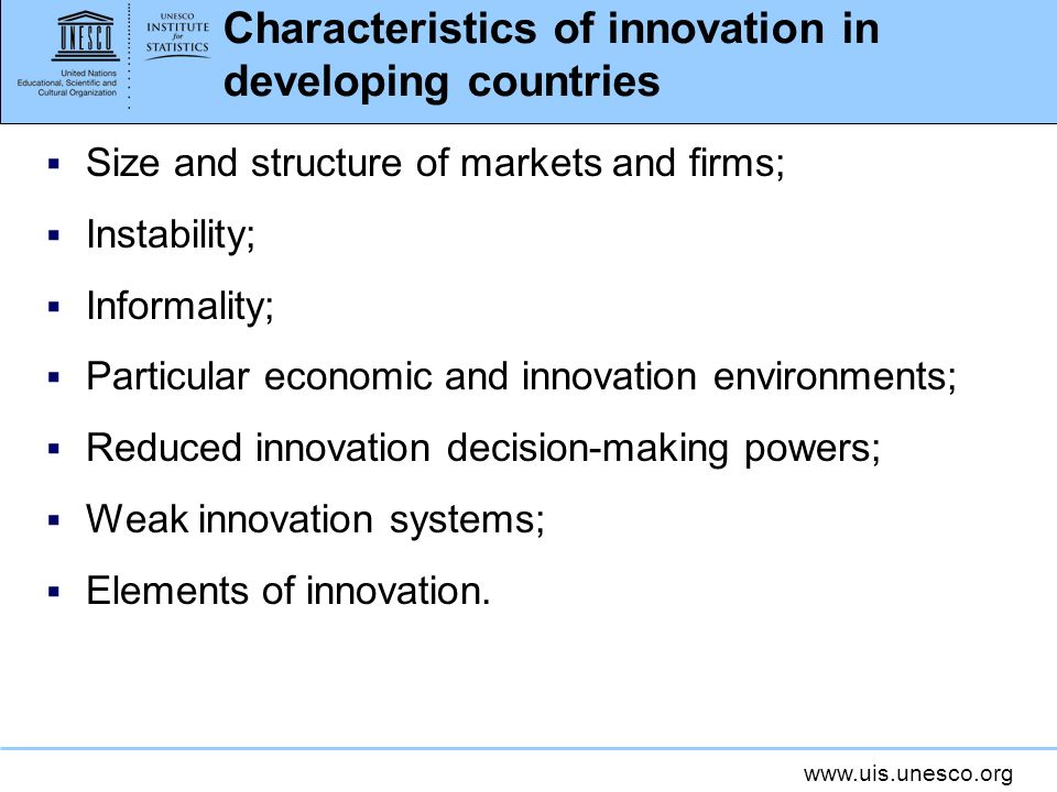 Characteristics of innovation in developing countries
