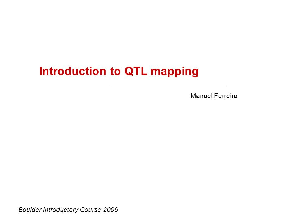 Introduction to QTL mapping