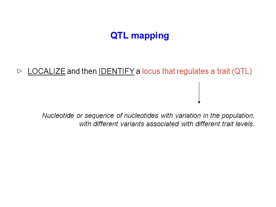 QTL mapping LOCALIZE and then IDENTIFY a locus that regulates a trait (QTL)