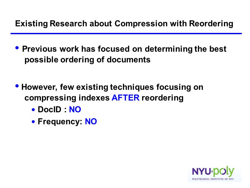 Existing Research about Compression with Reordering