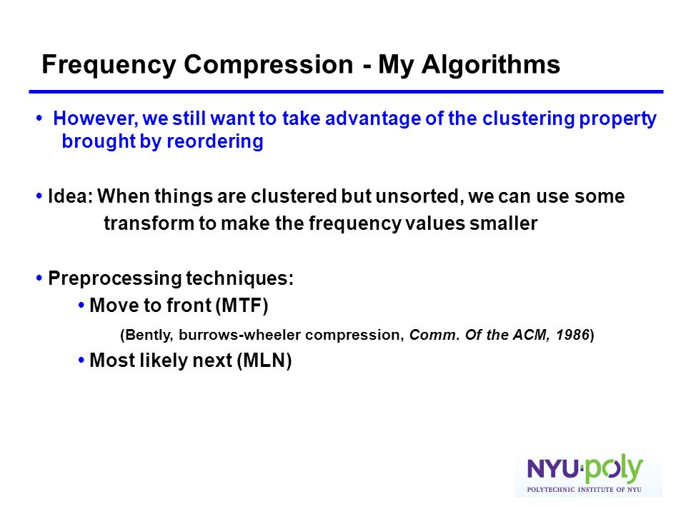 Frequency Compression - My Algorithms