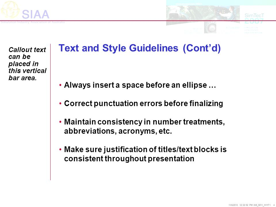 Text and Style Guidelines (Cont'd)