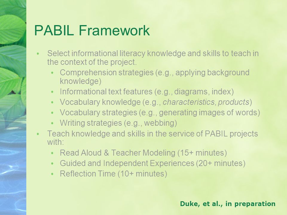 PABIL Framework Select informational literacy knowledge and skills to teach in the context of the project.
