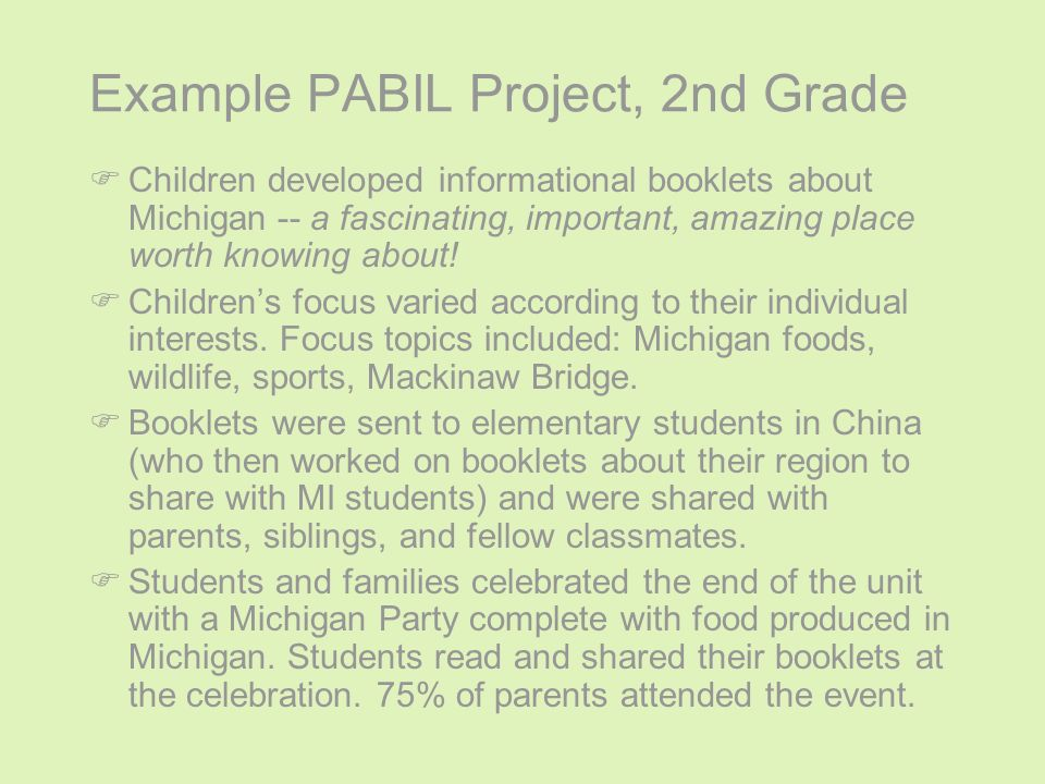 Example PABIL Project, 2nd Grade