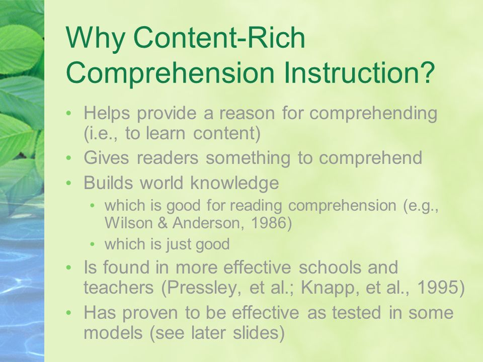 Why Content-Rich Comprehension Instruction