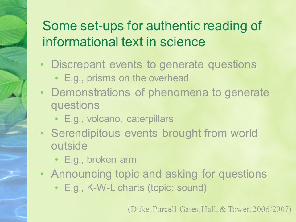 Some set-ups for authentic reading of informational text in science
