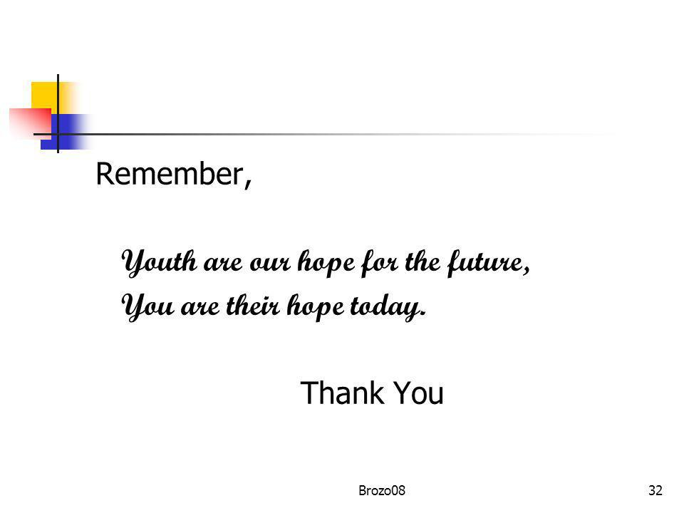 Youth are our hope for the future, You are their hope today. Thank You
