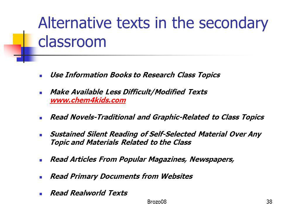 Alternative texts in the secondary classroom