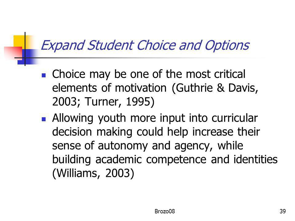Expand Student Choice and Options