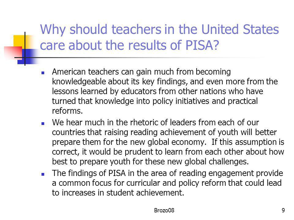 Why should teachers in the United States care about the results of PISA