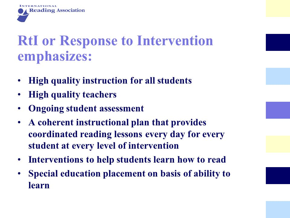 RtI or Response to Intervention emphasizes: