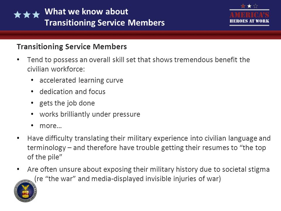 What we know about Transitioning Service Members