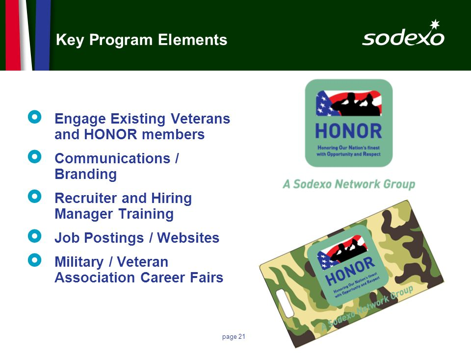 Key Program Elements Engage Existing Veterans and HONOR members